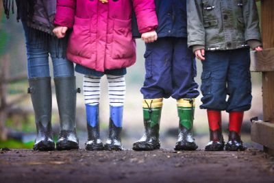 Children wearing gum boots